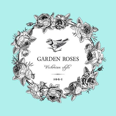 pajaro  dibujo: Tarjeta del vector de la vendimia con el marco blanco y negro ronda de rosas de jardín en el fondo de menta estilo victoriano