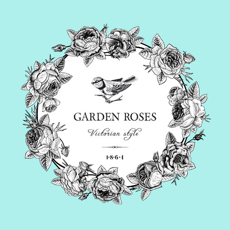 Vintage vector card with round black and white frame of garden roses on mint background  Victorian style Imagens - 26169113