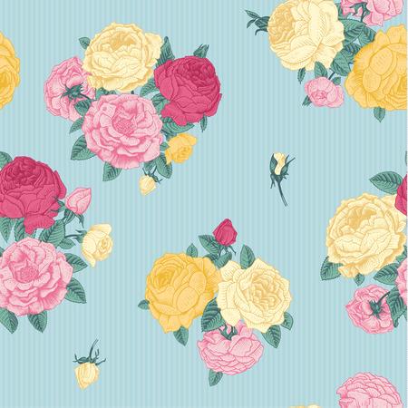 gele rozen: Vector naadloze vintage bloemmotief Boeketten van roze, gele rozen op een mint achtergrond met streep