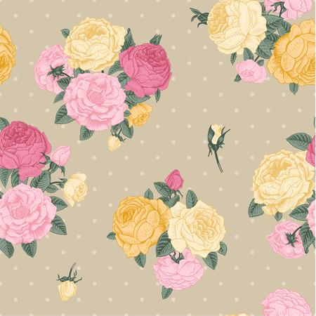 beige stof: Vector naadloze vintage bloemmotief Boeketten van roze, gele rozen op beige achtergrond met stippen