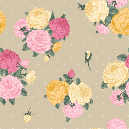 Vector seamless vintage floral pattern  Bouquets of pink, yellow roses on beige background with dots