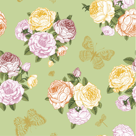 Seamless vector floral vintage pattern with Victorian bouquet of yellow, orange and pink roses and gold butterflies on a light green background Stock Vector - 26169116