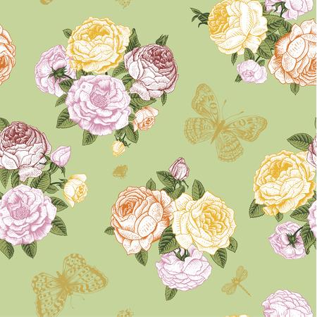 rosas naranjas: Seamless vector patrón de la vendimia con el ramo de flores del Victorian de rosas amarillas, anaranjadas y rosadas y mariposas de oro sobre un fondo verde claro