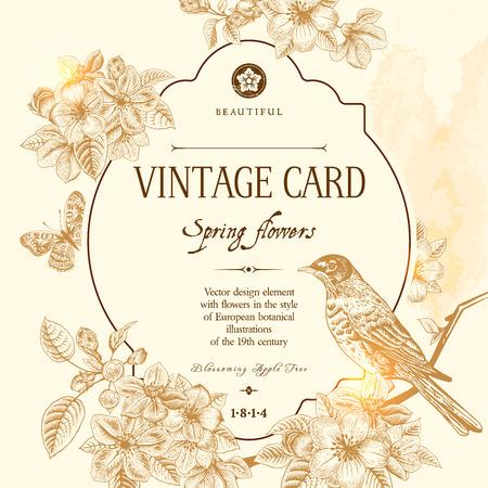 tarjeta postal: Tarjeta floral de primavera de la vendimia del vector con una rama de manzano en flor y un pájaro. Ilustración de color marrón sobre fondo beige. Estilo victoriano.