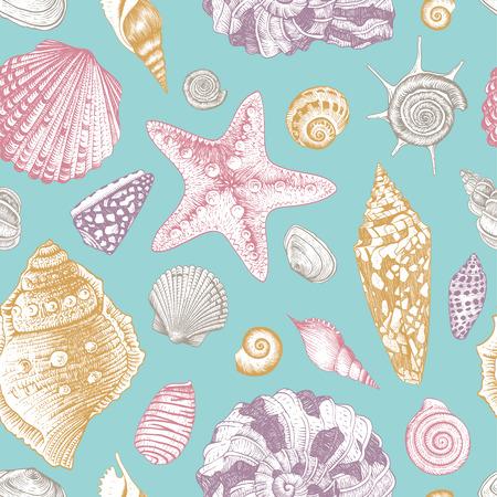 ヴィンテージのパターン ベージュ色の背景のピンクと紫とベージュの貝殻でシームレスのベクトル。パステル カラー。