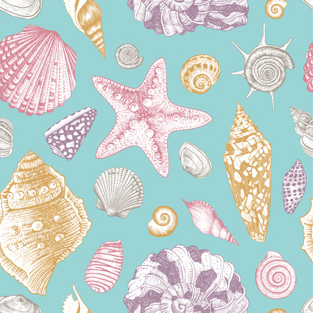 Vector seamless vintage pattern with pink and purple and beige seashells on beige background. Pastel color.