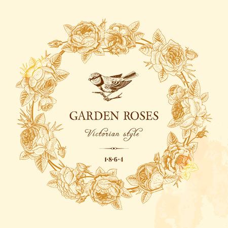 ビンテージ ベクトル カード、ベージュの背景に庭のバラの黄金の丸いフレーム付き。ビクトリア朝様式。