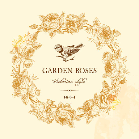 Vintage vector card with golden round frame of garden roses on a beige background. Victorian style. Vector