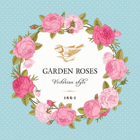 ビンテージ ベクトル カード ミント背景水玉ピンク ガーデン バラの花輪。ビクトリア朝様式。