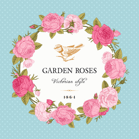 rose: Vintage vector card with a wreath of pink garden roses on mint background polka dot. Victorian style. Illustration