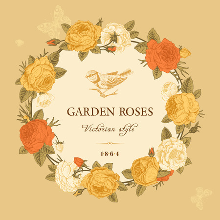 red and yellow card: Vintage vector card with a wreath of white, yellow and red garden roses on a beige background. Victorian style. Illustration