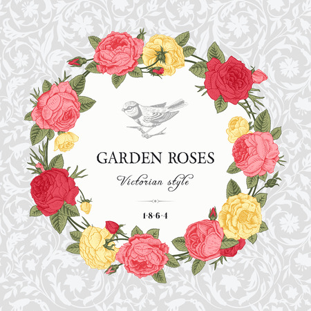 Vintage vector card with a wreath of pink, yellow and red garden roses on gray background ornamental. Victorian style. Stock Vector - 26159201