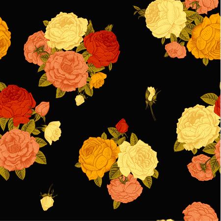 rosas naranjas: Patrón sin fisuras vector vintage floral con el ramo de rosas de colores victoriana sobre un fondo negro. Coral,, amarillo, naranja rosas rojas con hojas verdes.