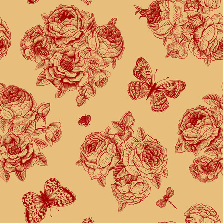 claret red: Seamless vector floral vintage pattern with Victorian bouquet of dark red roses and claret butterflies on a  beige background.  Illustration