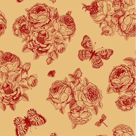 claret red: Seamless vector patr�n de la vendimia con el ramo de flores de Victoria de rosas rojo oscuro y mariposas clarete en un fondo de color beige.