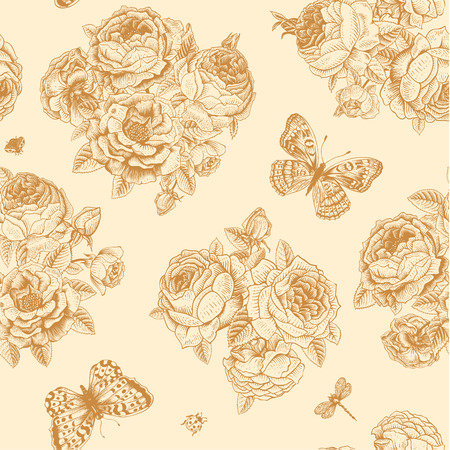 Seamless vector floral vintage pattern with Victorian bouquet of gold roses and gold butterflies on a light beige background.  Vector