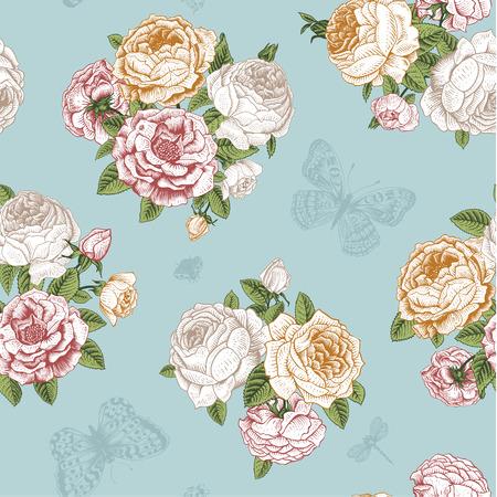 Naadloze bloemen vintage patroon met Victoriaanse boeket van witte, oranje en roze rozen en munt vlinders op een lichte mint achtergrond.