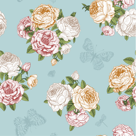 Seamless vector floral vintage pattern with Victorian bouquet of white, orange and pink roses and mint butterflies on a light mint background.