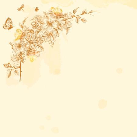 apple blossom: Branch blossoming apple. Brown design element on a beige background. Vintage Victorian spring card. Vector illustration. Illustration