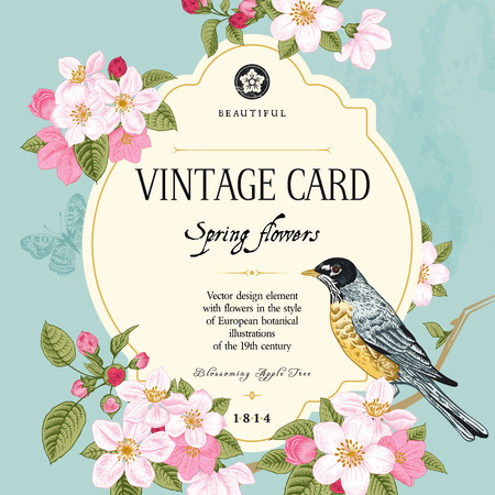 victorian: Vintage vector card spring  Bird on a branch of apple blossoms pink flowers on mint background