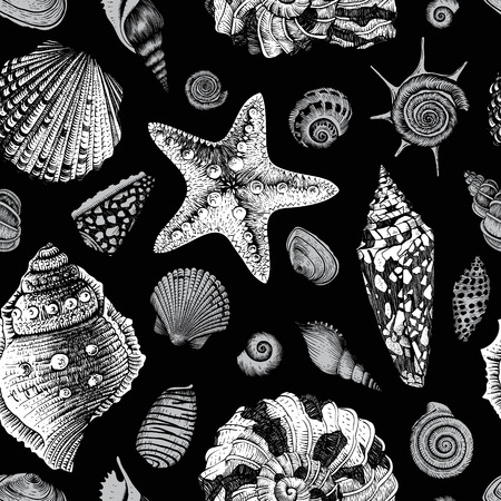 star fish: Vector seamless vintage pattern with black and white seashells on black background