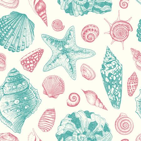 Vector patrón de la vendimia sin fisuras con conchas marinas de color rosa y menta sobre fondo color beige en colores pastel