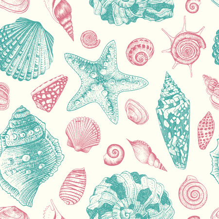 Vector seamless vintage pattern with pink and mint seashells on beige background  Pastel color