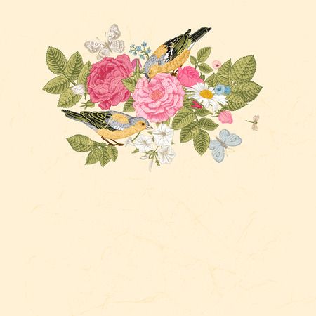 Spring summer vector vintage card in Victorian style  Composition of colorful flowers on a beige background  Roses, birds, butterflies  Design element  Иллюстрация