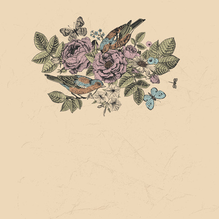 vector vintage card in Victorian style