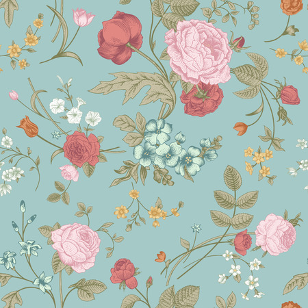 Seamless vector classic pattern with Victorian bouquet of colorful flowers on a mint background  Pink roses, tulips, blue delphinium