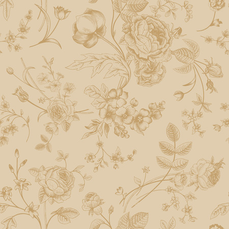 Seamless vector vintage pattern with Victorian bouquet of gold flowers on a beige background  Garden roses, tulips, delphinium, petunia