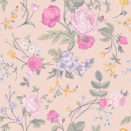 クリーム色の背景黄色ピンクのバラ、チューリップ、紫デルフィ ニウムのカラフルな花のビクトリア朝の花束とシームレスなベクター クラシック
