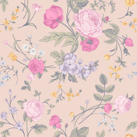 Seamless vector classic pastel romantic pattern with Victorian bouquet of colorful flowers on a cream  background  Pink roses, yellow tulips, purple delphinium  Illustration