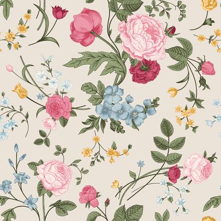 カラフルな花、灰色の背景はピンクのバラ、チューリップ、ブルー系デルフィ ニウムのビクトリア朝の花束とのシームレスなベクター パターン