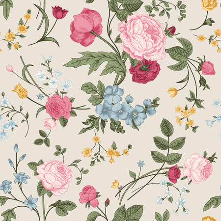 Seamless vector pattern with Victorian bouquet of colorful flowers on a gray background  Pink roses, tulips, blue delphinium