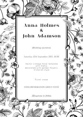 Vector verticale vintage bloemen bruiloft elegante kaart met frame van zwarte tuin bloemen op een witte achtergrond zwart-wit ontwerp sjabloon Stock Illustratie
