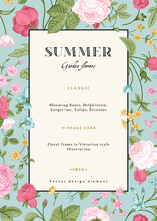 and invites: Summer vertical vector vintage card with colorful garden flowers  Roses, forget-me, delphinium on mint background  Design template  Illustration