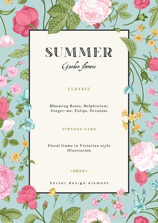 jardines flores: Tarjeta de verano de la vendimia vector vertical con coloridos jardines de flores rosas, nomeolvides, espuela de caballero en la menta fondo de la plantilla de dise�o