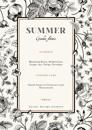 vertical garden: Summer vertical vector vintage elegant card with black garden flowers  Roses, forget-me, delphinium on beige background with golden frame  Design template  Illustration