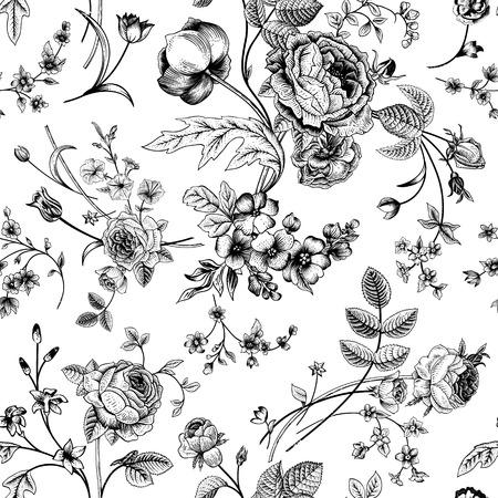 흰색 배경에 정원 장미, 튤립, 고깔, 피튜니아 흑백에 검은 꽃의 빅토리아 부케와 원활한 빈티지 패턴