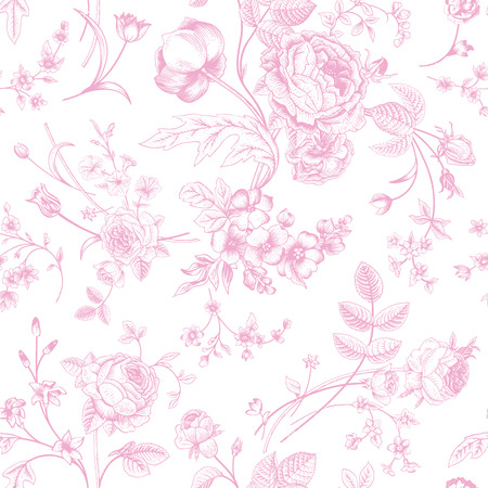 Seamless vector vintage pattern with Victorian bouquet of pink flowers on a white background  Garden roses, tulips, delphinium, petunia   Vector
