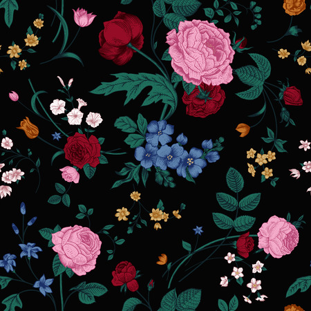 Seamless vector vintage pattern with Victorian bouquet of colorful flowers on a black background  Pink roses, tulips, blue delphinium with emerald leaves  Vector