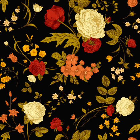 tulips: Seamless vector vintage pattern with Victorian bouquet of vivid flowers on a black background  Coral, yellow roses, tulips, delphinium, petunia with green leaves
