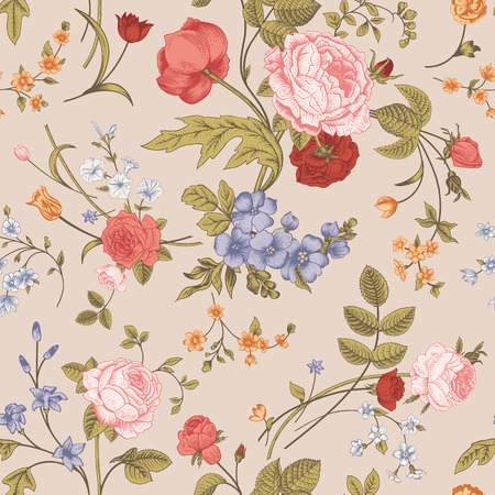 Seamless floral vector classic pattern with Victorian garden flowers on a beige background  Coral roses, orange tulips, blue delphinium