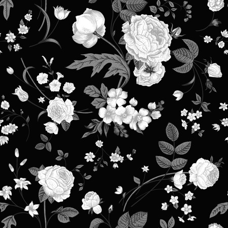 Seamless vector vintage pattern with Victorian bouquet of white flowers on a black background  White roses, tulips, delphinium with gray leaves  Ilustracja