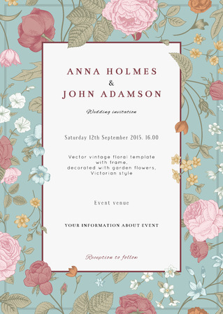 Vector vertical vintage floral wedding invitation card with frame of colorful garden flowers on mint background