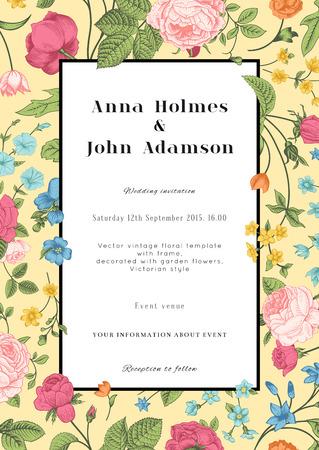 Vector vertical vintage floral wedding elegant card