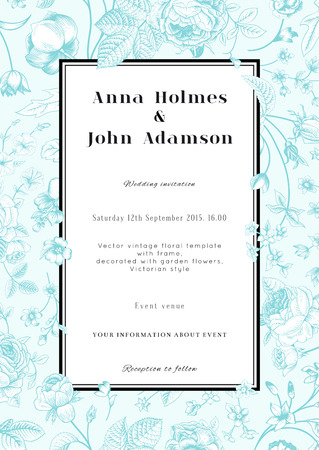 Vector vertical vintage floral wedding elegant card with frame of mint garden flowers on light mint background  Design template Фото со стока - 26567438