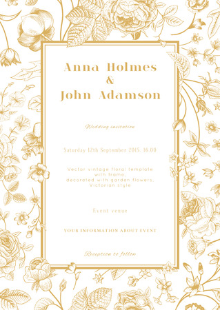Vector vertical vintage floral wedding elegant card with frame of gold garden flowers on white background  Design template