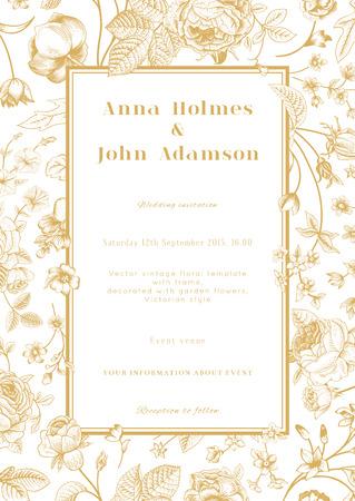 cartoline vittoriane: Verticale vettore nozze vintage elegante carta floreale con cornice del giardino di fiori in oro su sfondo bianco Design template